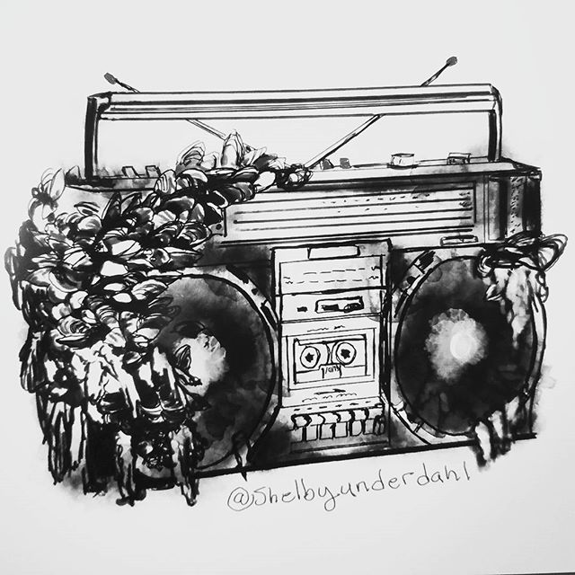 Boom box, digital drawing