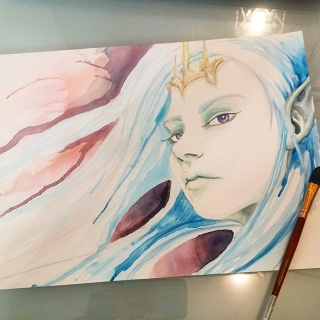 Elf princess, watercolor