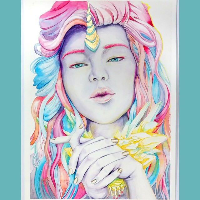 Unicorn Girl, watercolor and gold foilin