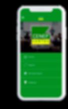 Celular com o aplicativo CENEP SANTOS aberto na tela inicial.