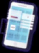 Aparelho celular com caixas representando aplicativos em desenvolvimento