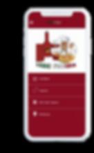 Celular com o aplicativo Fábio Pizzaria aberto na tela inicial.