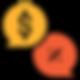 Balões de Sifrão e Porcentagem repreentando preços abaixo da concorrência