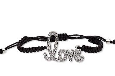 Black Rope Script Love Bracelet
