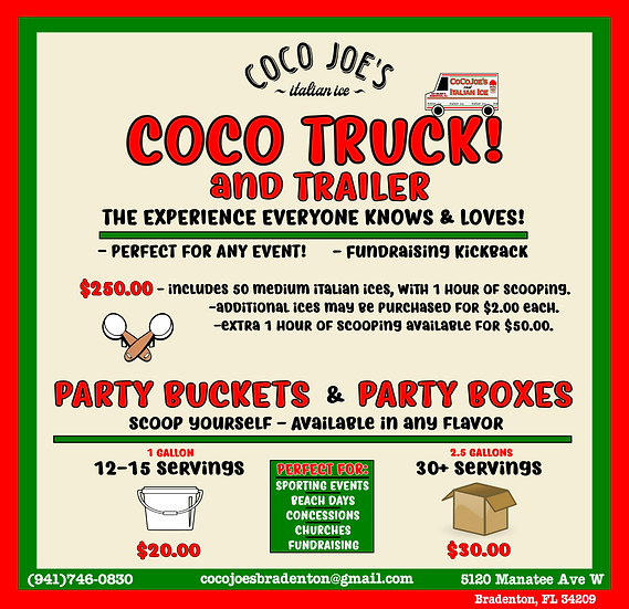Coco Joe's - INFO - Different Operations