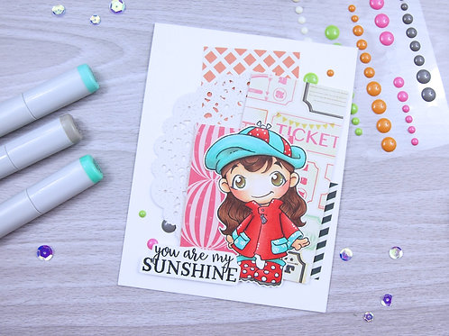 Girl with Rain Coat Card Kit