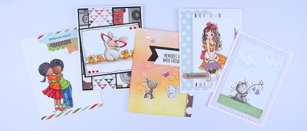 hand made cards,people, cat, pig, chicks,deer, rabbit, butterfly, glasses