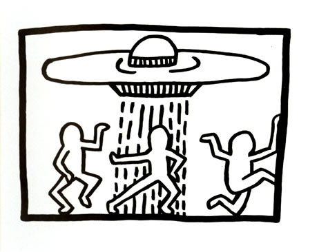 """Keith Haring, """"Disco Man and the UFO"""", 1982, Drawing"""