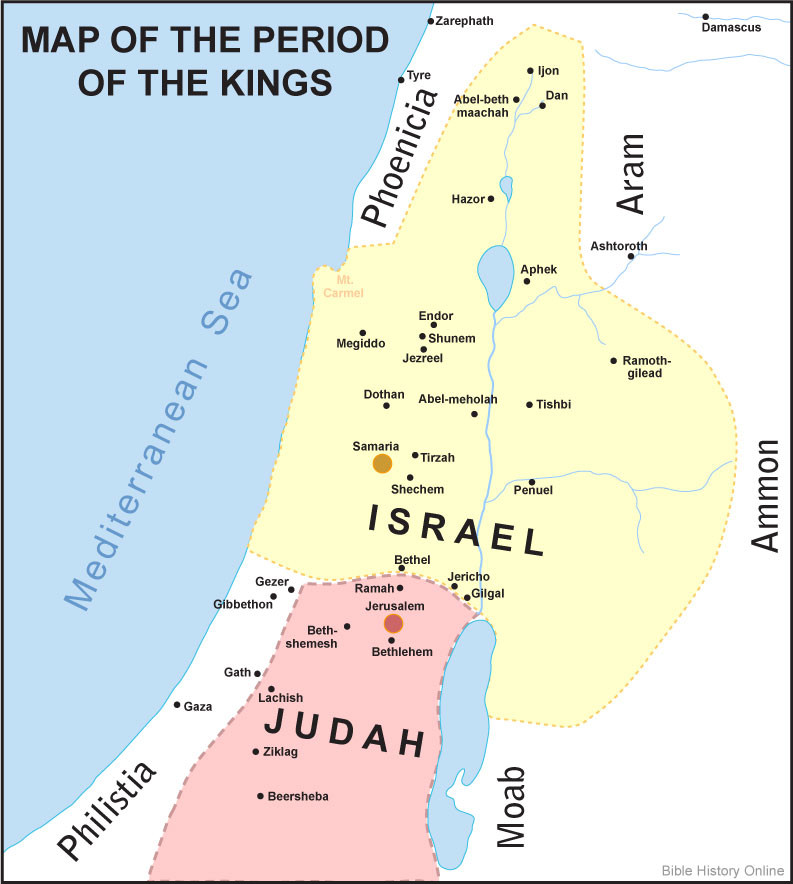 This map, courtesy of Bible History, shows the relative size of the two kingdoms of Israel and Judah. Often at war with each other, the kingdom of Israel was significantly larger and more powerful than the kingdom of Judah.