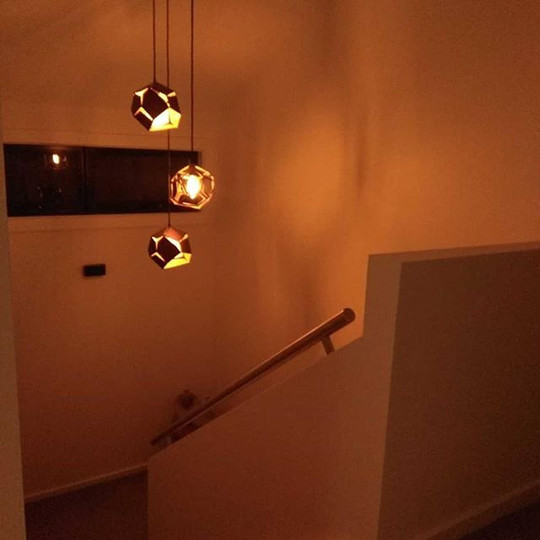 FEB 14, 2019  Last night, a current client of VC Electrical sent this photo through. We had been waiting on delivery of switches to connect these lights. Well it finally happened yesterday and the client is over the moon with the final finish.
