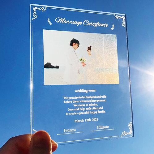 写真入り結婚証明書 シンプルリーフ