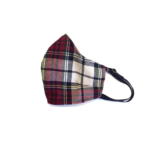 Women's red plaid face mask