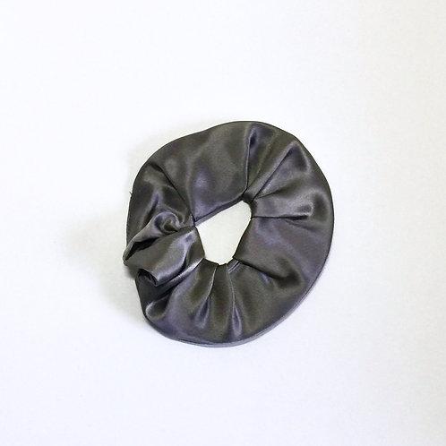 Dark Grey Silk scrunchie