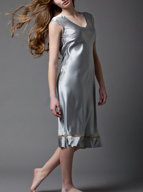 Silver grey silk satin dress