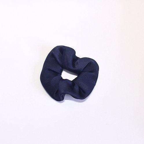 Navy Silk scrunchie