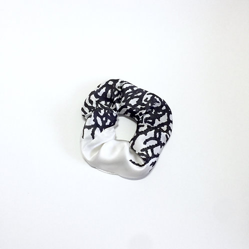 Black Coral Silk print scrunchie