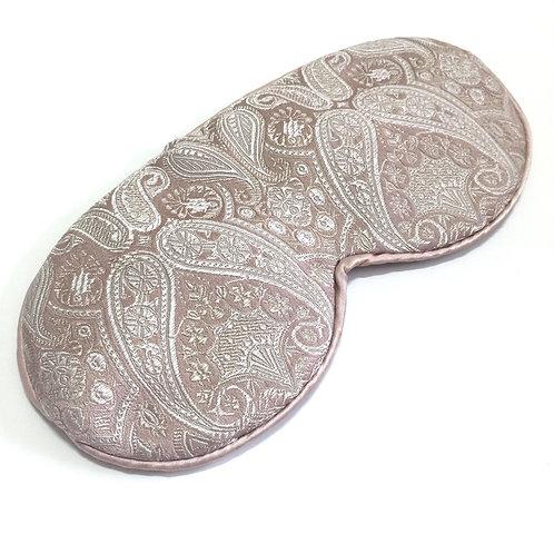 Blush paisley jacquard sleep mask with ear loops