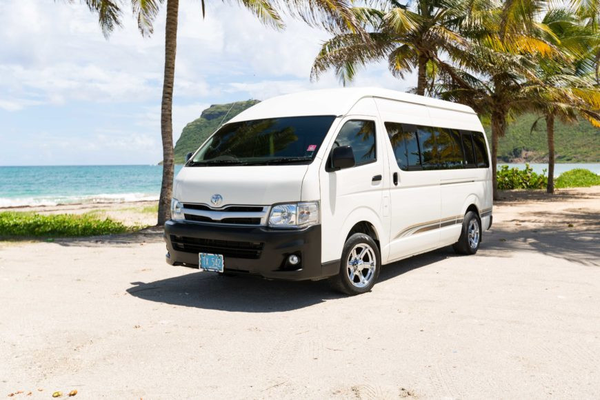 Typical van transportation from airport to the resort