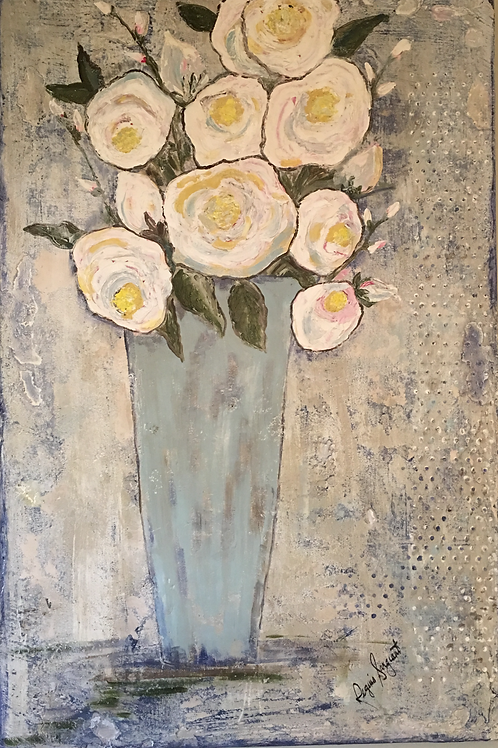 Abstract Roses in Blue Vase