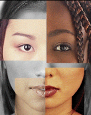 Composite of human face using different skin colors and features