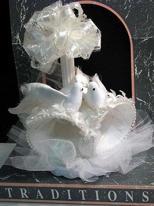 White Love Birds Cake Topper