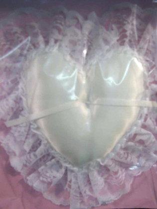 White Heart Shaped Ring Bearer Pillow