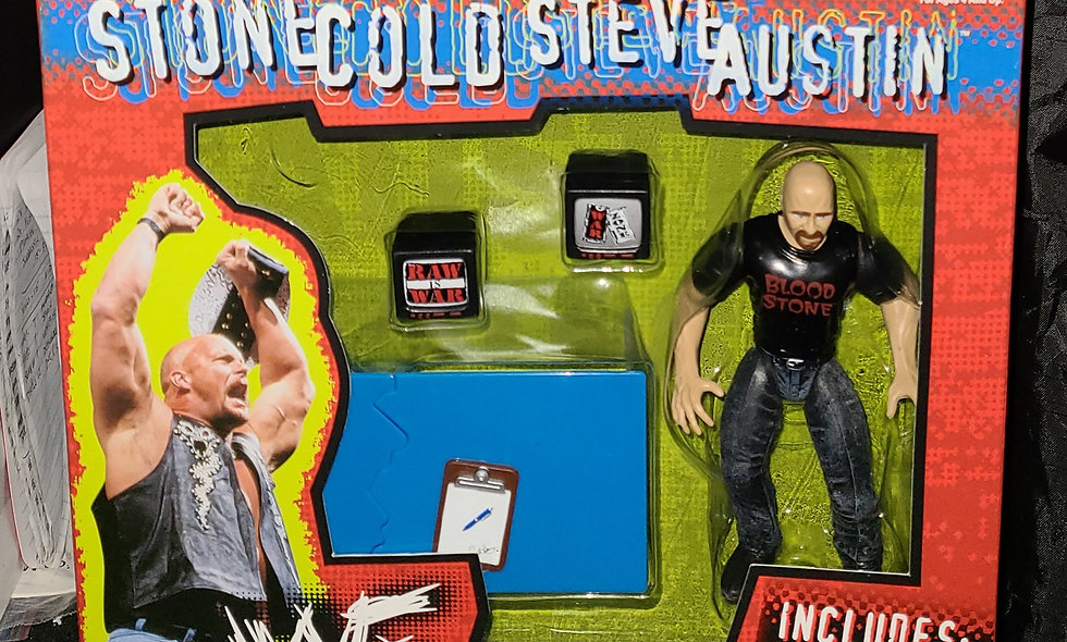 Stone Cold Steve Austin - Jakks Pacific Wrestling Set - w/ Table & Monitors