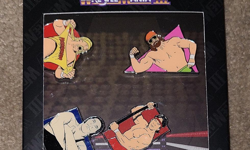 Wrestlemania 3 Enamel Pin Set - Hogan Savage Andre Steamboat