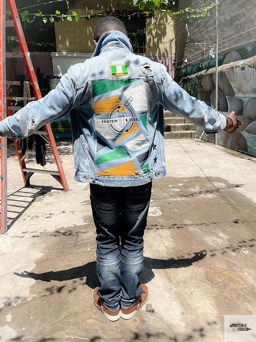 P&V Distressed Denim Jacket - Personalized Patch