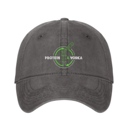 Protein & Vodka Dad Hat - Gray Lime