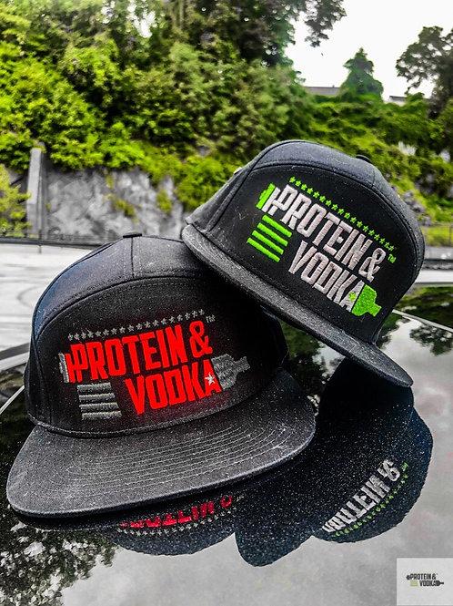 Protein & Vodka 7 Panel Twill Strapback - Black