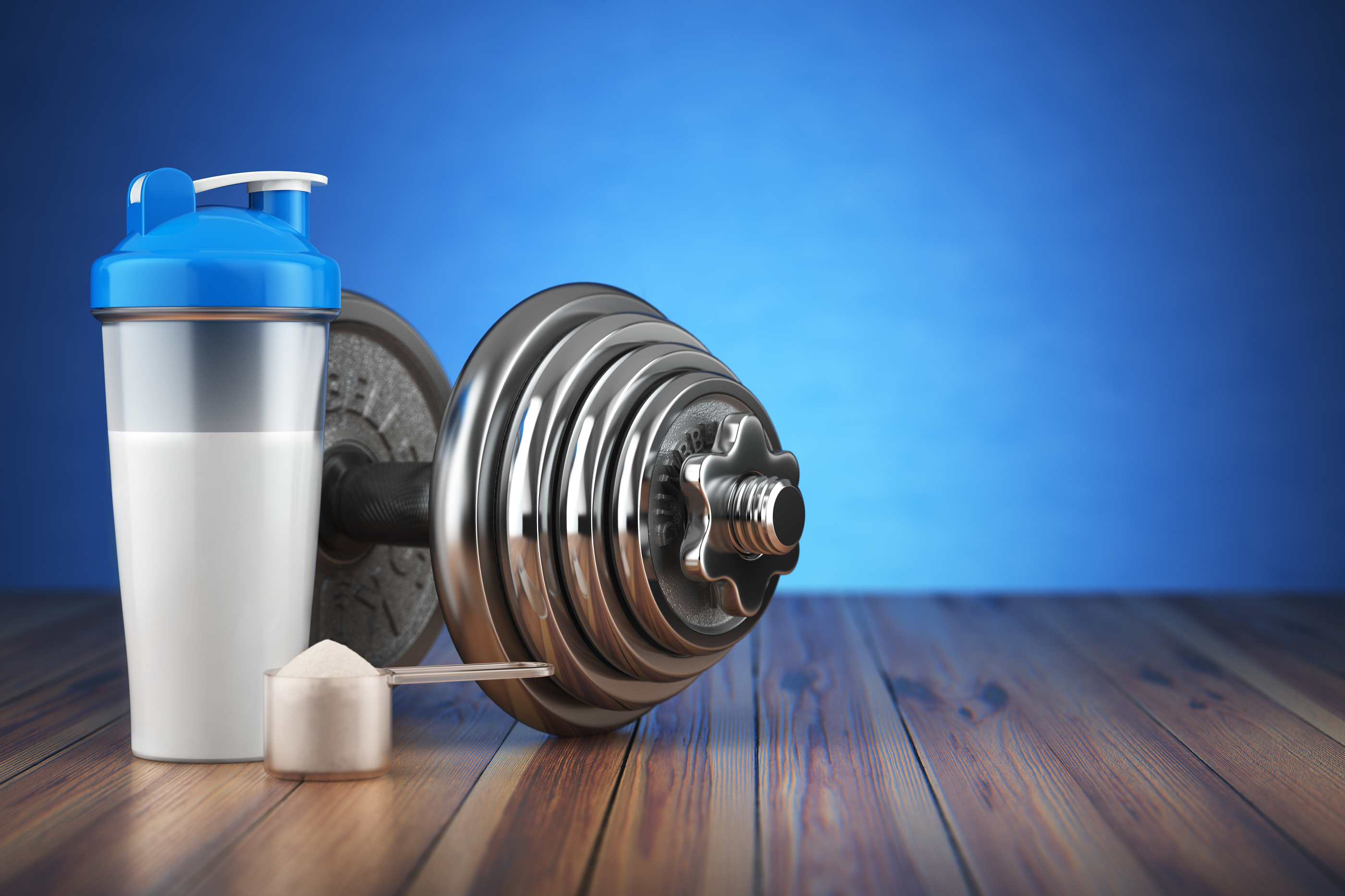 Dumbbell and whey protein shaker. Sports bodybuilding supplements or nutrition. Fitness or healthy l