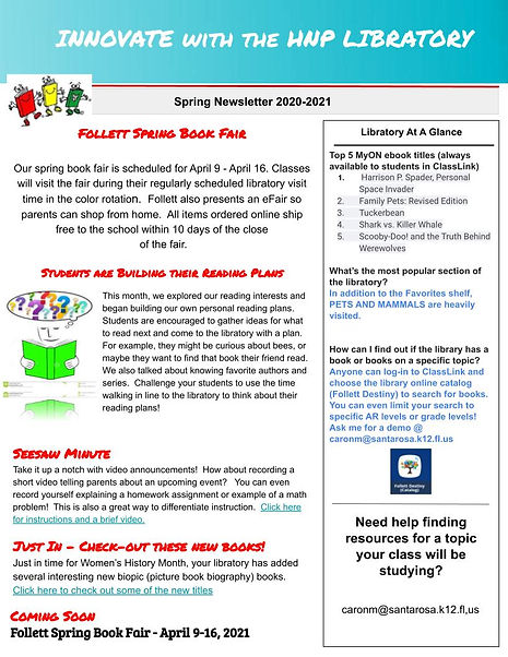 Copy of HNP Libratory Newsletter Spring