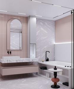 Ванная комната в оттенках розового