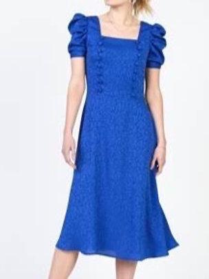 ROYAL BLUE POOFY SHOULDER DRESS