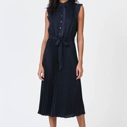 NAVY BUTTON FRONT PLEATED SKIRT DRESS