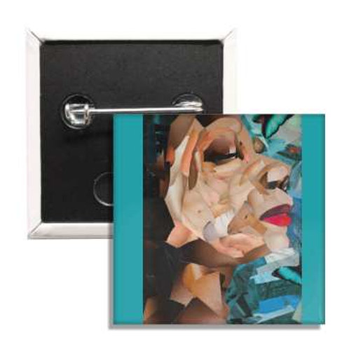 Bleached Out Face Book Cover 2 Inch Button
