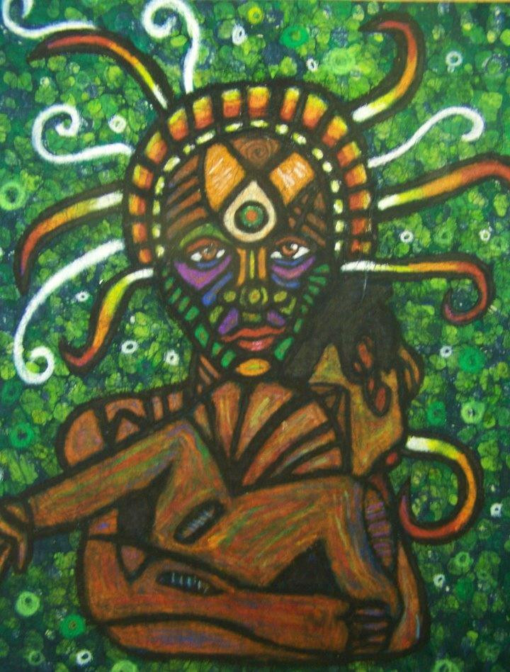 Earth Mother (2012) batik of mother and child