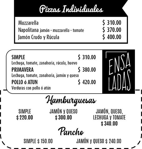 Pizzas - Ensaladas - Panchos - Hamburgue