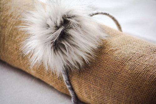 The Gray Faux Fur Pompom Headband