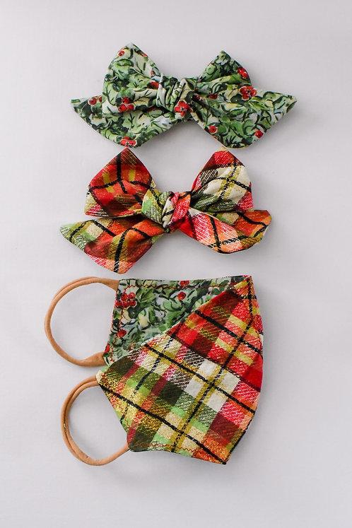 Holiday Bow/Mask Set