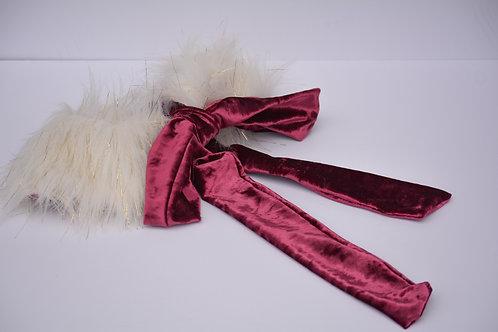 Winter Faux Fur & Velvet Bow Collar