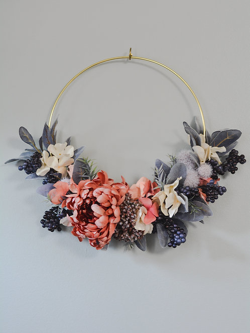 Grays and Berries Fall Wreath