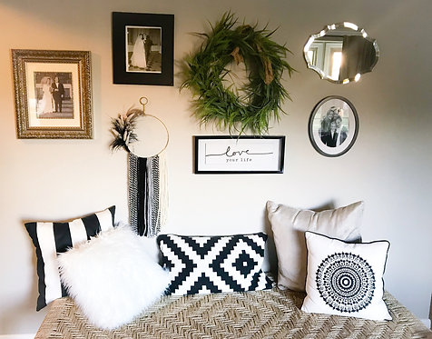 The Monochrome Feather Wall Hanging