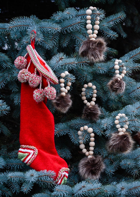 Fur Pompom Ornament Set