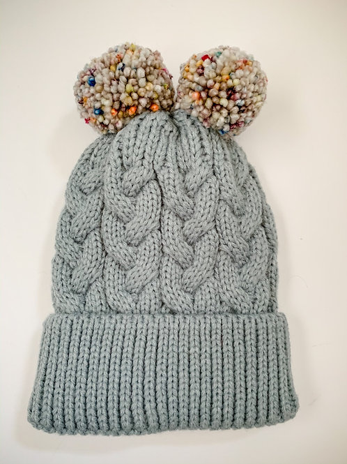 Size 0-3yrs Gender Neutral Double Pom Hat