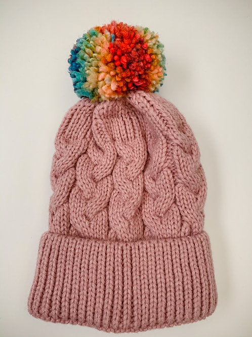 Size 0-3yrs Rainbow Pom Hat