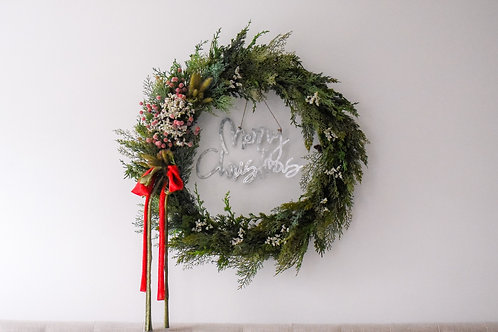 Dried Floral Berry Evergreen Wreath