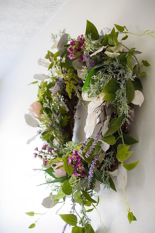 Lavender Fuchsia Fields Wreath