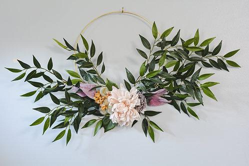 Modern Leafy Dahlia Wreath